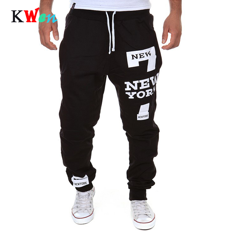 New Men's Pants 7 New York Letter Print Sweatpants Joggers Male Cotton Lace-up Casual Trousers Pants Plus Size M-3XL 7MYY81