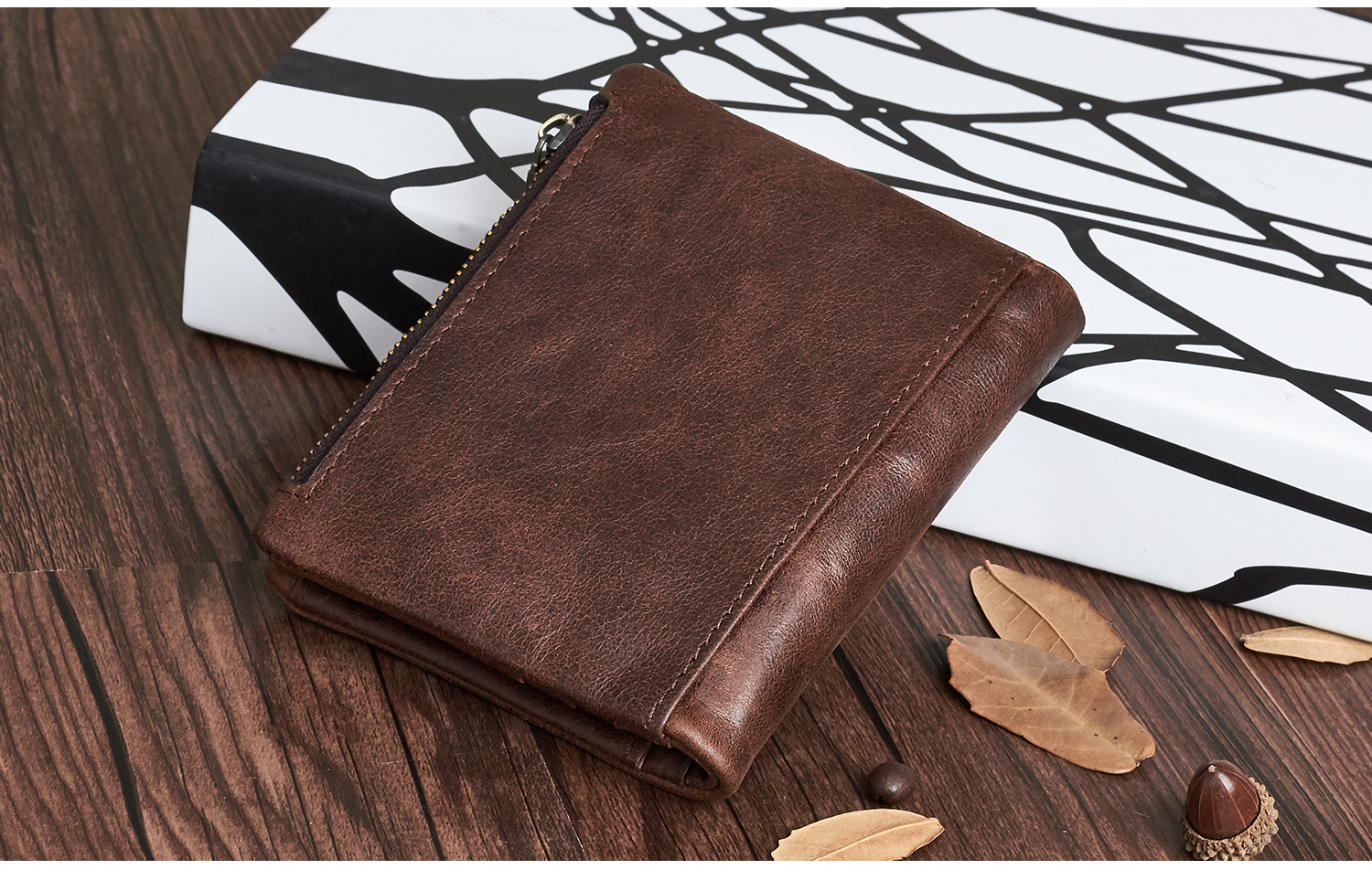 CHARGER - Vintage Leather Wallet with Zipper Pocket | Dukesman.com