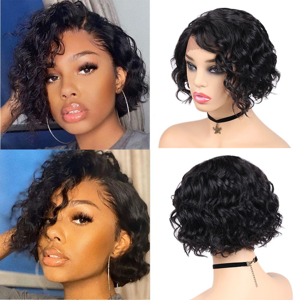 FAVE 100% Human Hair Wigs For Black Women Remy Short Brazilian Natural Wave Wigs Side Part Lace L Part Wig Short Black Wavy Hair