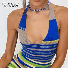 FSDA 2021 Stripe Y2K Crop Top Women Y2K Knit Backless Summer Sexy Halter Neck Blue Sleeveless V Neck Bandage Green Tank Tops
