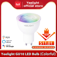 Yeelight-bombilla LED inteligente GU10, lámpara colorida de 350 lúmenes, regulable/colorida, funciona con la aplicación Yeelight, asistente de Google, alexa y mijia