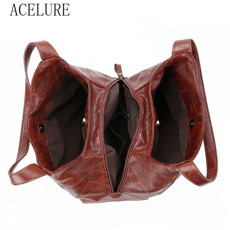 ACELURE  High Capcaity Soft PU Leather Vintage Women Hand Bag Totes Designers Luxury Women Shoulder Bags Female Top-handle Bags