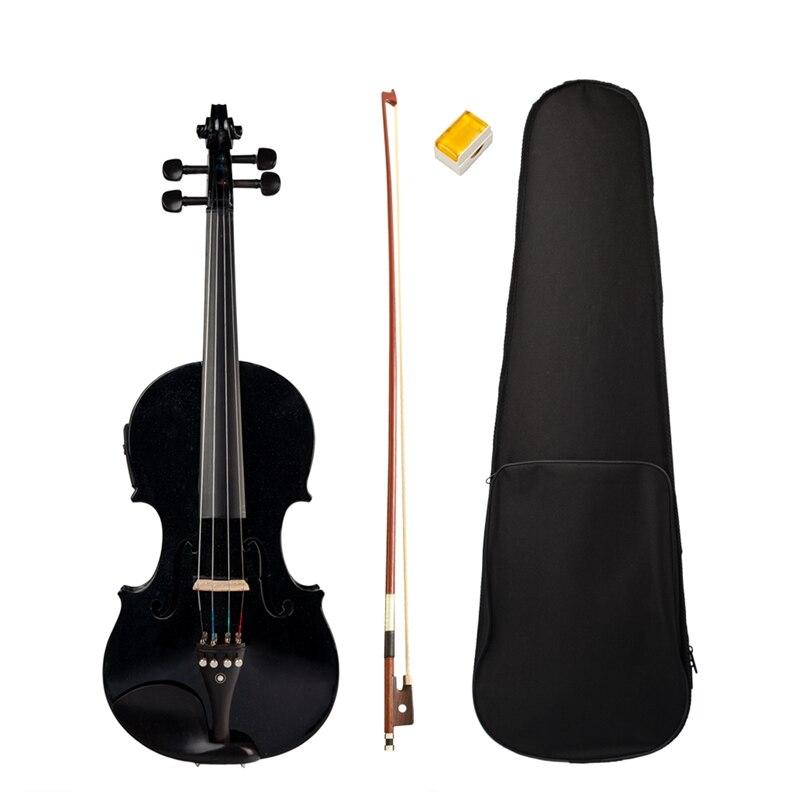 4/4 Full-Size Violin Violin Sound and Electric Violin Solid Wood Body Ebony Accessories High Quality Black Electric Violin