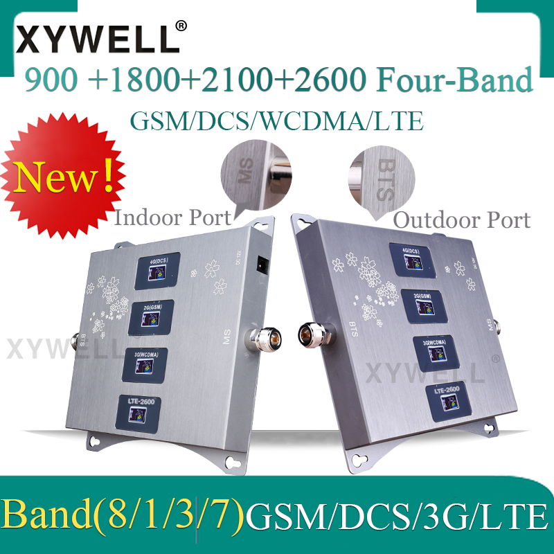 900/1800/2100/2600mhz Four-Band Cellular amplifier 4G 3G GSM Phone Signal Booster GSM DCS WCDMA LTE 2G 3G 4G Cellular Repeater 4