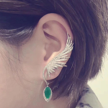 Luxury Feather CZ Stone Ear Cuff Hang Water Drop Big Clip Earrings for Women Party Green Earcuff kupe Club Factory AE530
