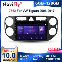 6G + 128G QLED Carplay Android 10 unidad auto Radio Multimedia reproductor de vídeo navegador GPS para VW tiguan 2006-2017 2 din dvd BT