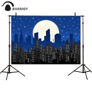 Image 2 - Allenjoy superhero photography background birthday party poster boy child building moon midnight star comics backdrop photophone