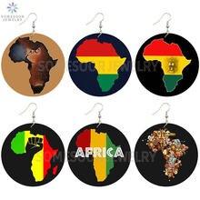 Somesoor объединенные африканские цвета карта деревянные висячие