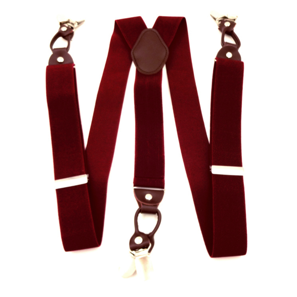 Men Leather Alloy Casual Clip On Elastic Vintage Commercial Accessories Across Portable Suspenders
