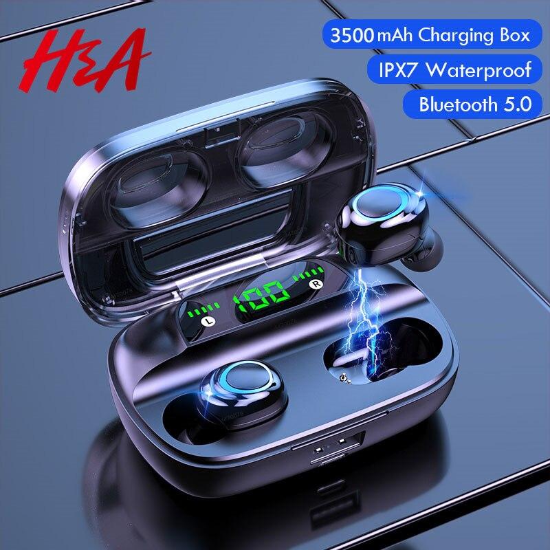 Bluetooth V5.0 наушники с сенсорным управлением, HD стерео беспроводные наушники, спортивная водонепроницаемая гарнитура, наушники с зарядным уст...