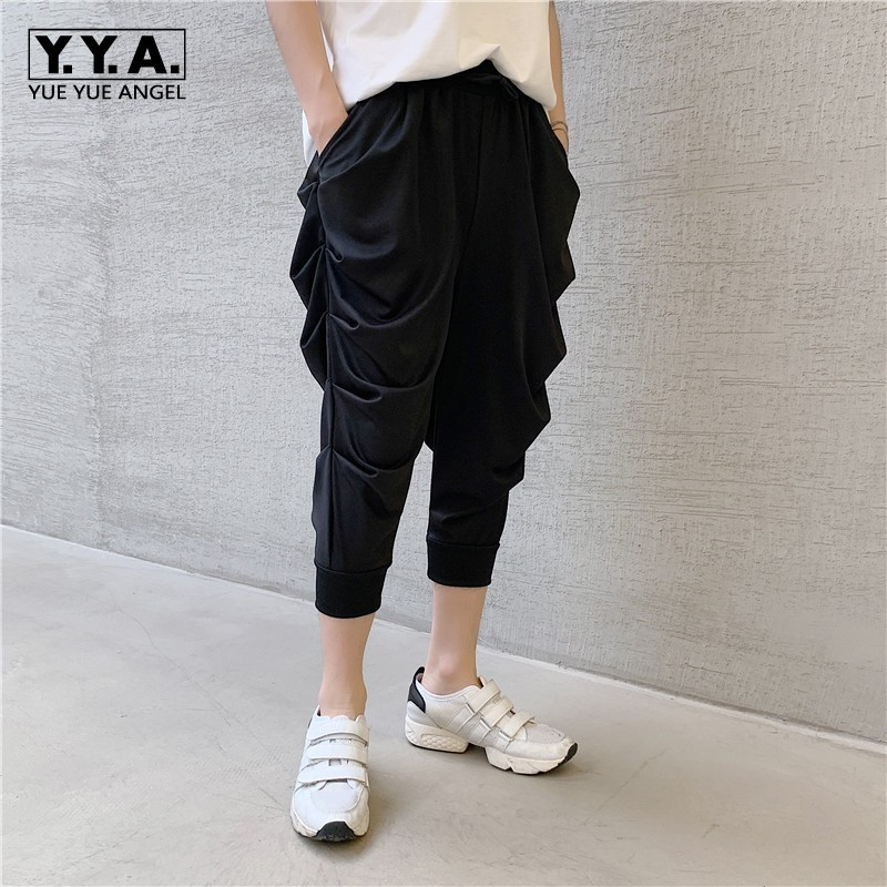 Summer New Lightweight Mens Calf Length Pleated Harem Pants Fashion Casual Loose Fit Male Jogging Pants Elastic Waist Streetwear