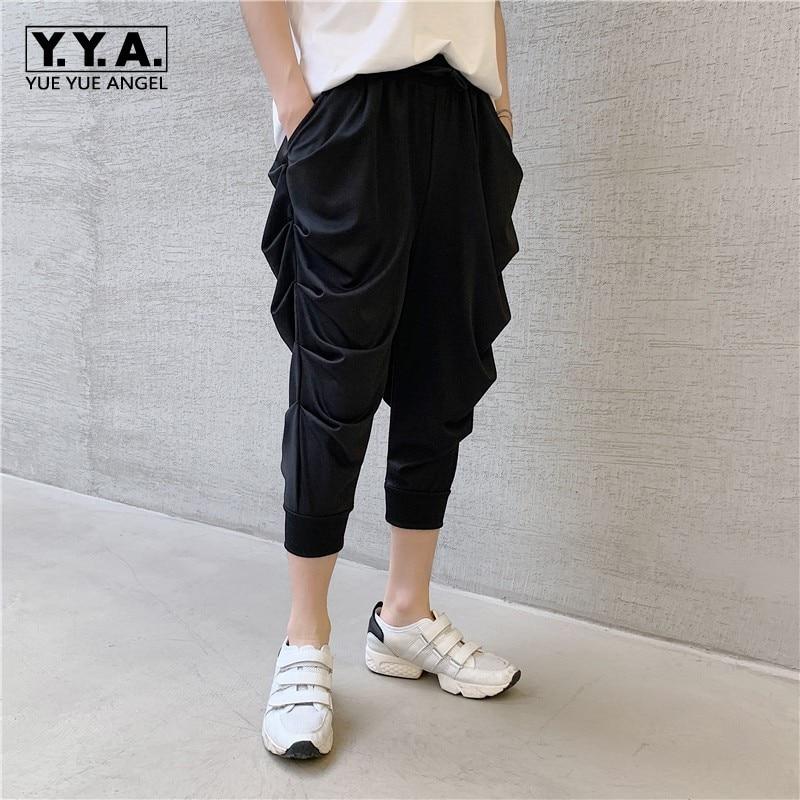 Summer New Lightweight Mens Calf Length Pleated Harem Pants Fashion Casual Loose Fit Male Jogging Pants Elastic Waist Streetwear