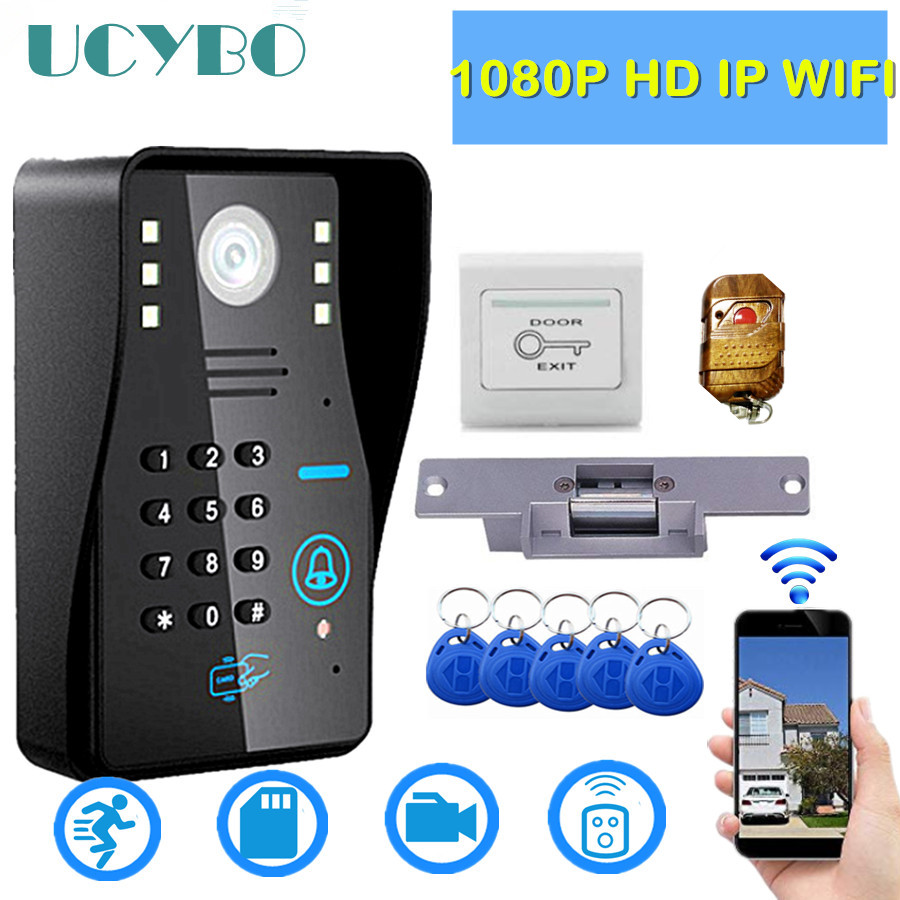 IP wifi video doorbell camera intercom system 1080p HD wireless IR sd RFID Electric lock home security video door phone kit(China)