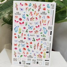 3D Nail Sticker Decals Self-adhesive Design Stickers for Nails Butterfly Flower Grass