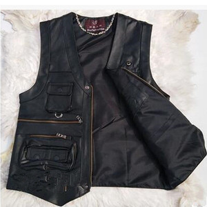 Image 4 - 2020 New gentlement leather vest male slim commercial male leather vest sheepskin leather men vest waistcoat with many pockets