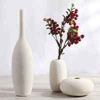 Nordic Ceramic Vase Three-piece Home Furnishings Burnt Stripe Creative Home Crafts Flower Ornaments