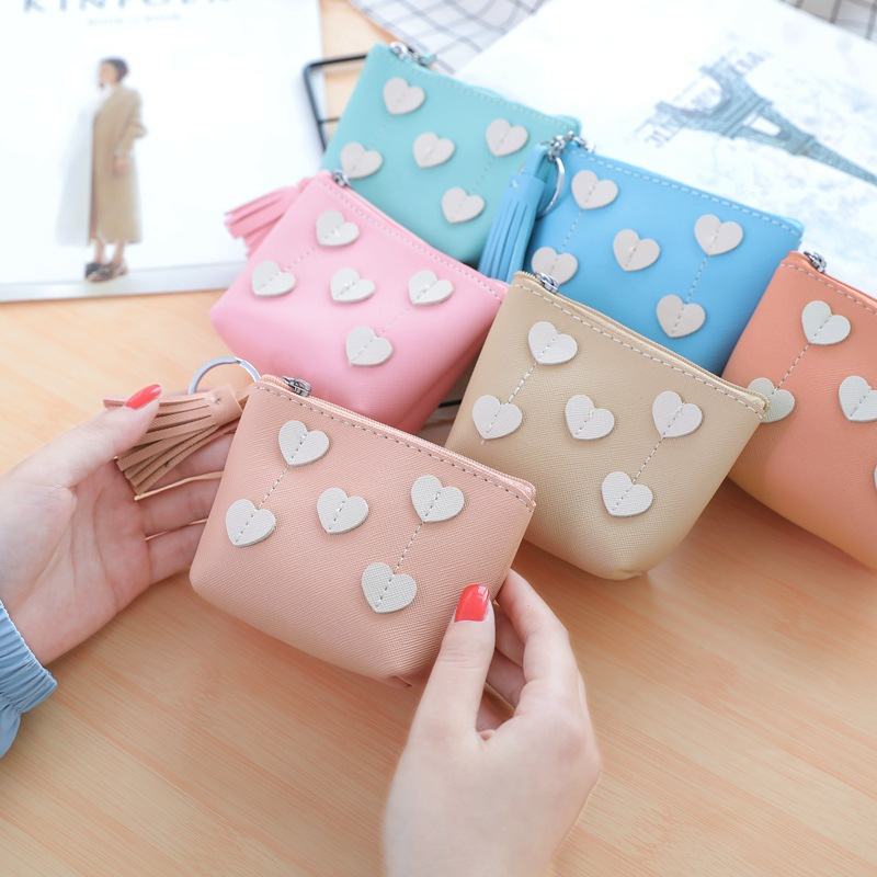 2018 New Style Korean-style Top Grade Pu Shi Zi Pattern Joint Purse Tassels Pendant Zipper Coin Bag Women's