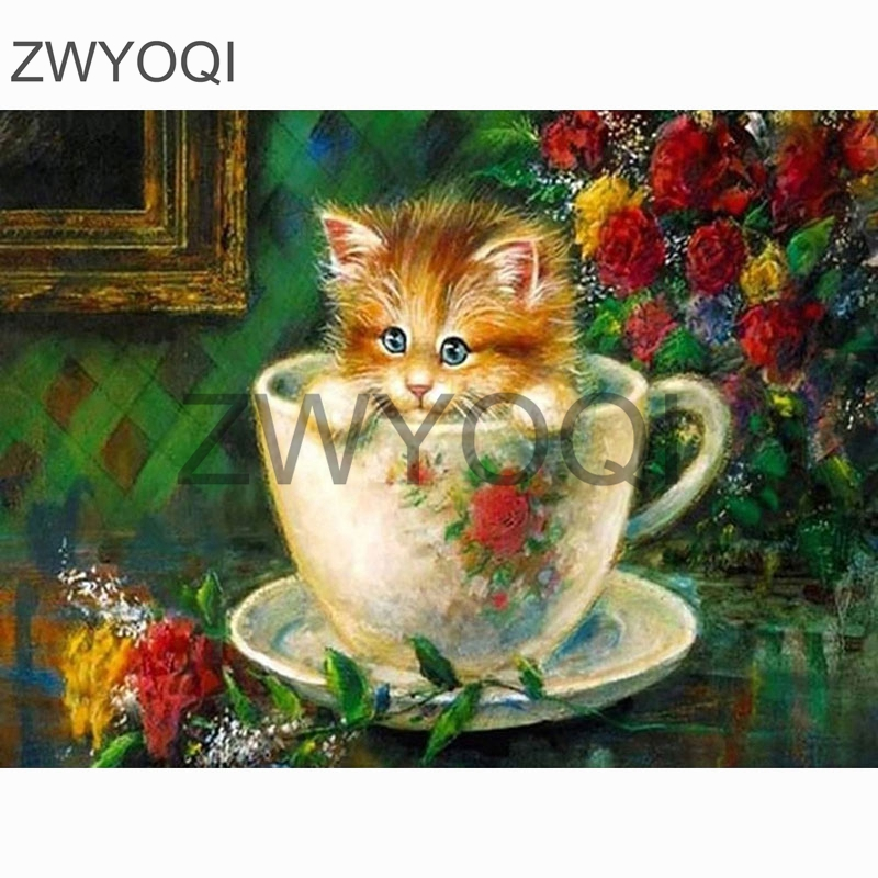 Full Square Diamond painting Cat <font><b>coffeecup</b></font> rose DIY3D Diamond mosaic cat Full Round Diamond embroidery Cross stitch Cat cup rose image