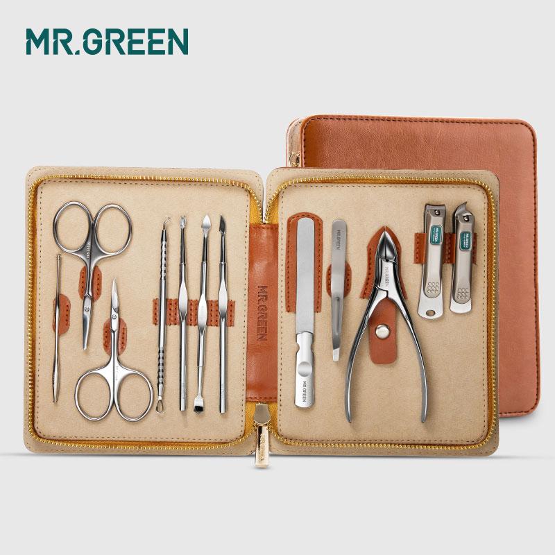 MR. GREEN 12 in1 ensemble de manucure coupe-ongles en acier inoxydable ensemble de manucure utilitaire pour cuticules outils Kit de toilettage pour soins des ongles ensemble de coupe-ongles