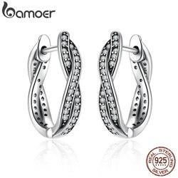Bamoer authentic 925 prata esterlina torção do parafuso prisioneiro do destino brincos clara cz para o casamento feminino na moda jóias pas465