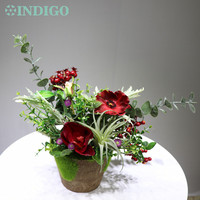 INDIGO Designed 1 Set Red Cymbidium Christmas Flower Arrangement Bonsai Bouquet Table Centerpiece Gift Free Shipping