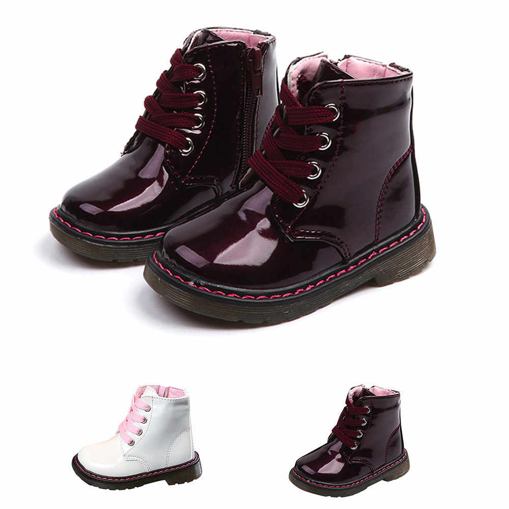 Kids boots Autumn Winter Top Selling Girls Martin Boots New Fashion Brand Kids Leather Shoes Girl Zipper Soft Casual Boots shoes