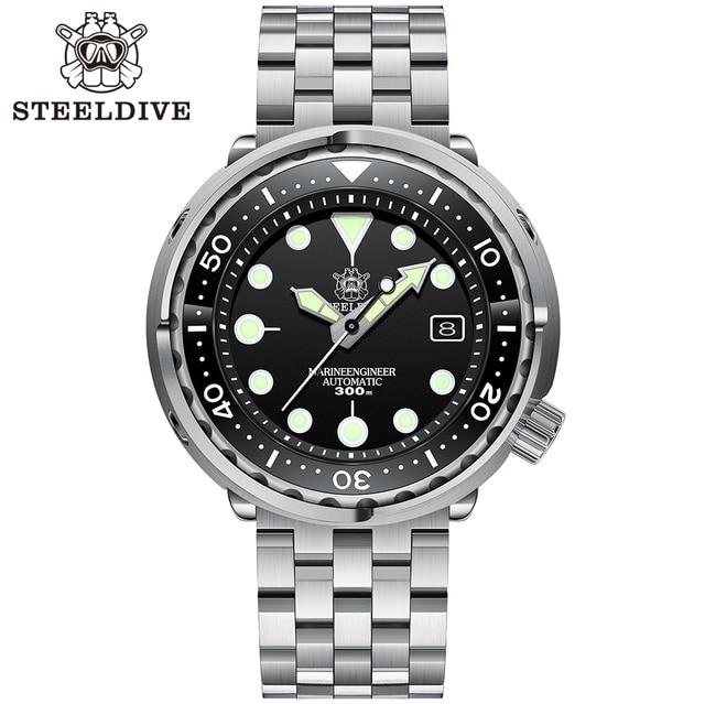 Steeldive SD1975 Black Dial Ceramic bezel 30ATM 300m Waterproof Stainless Steel NH35 Tuna Mens Dive Watch 1