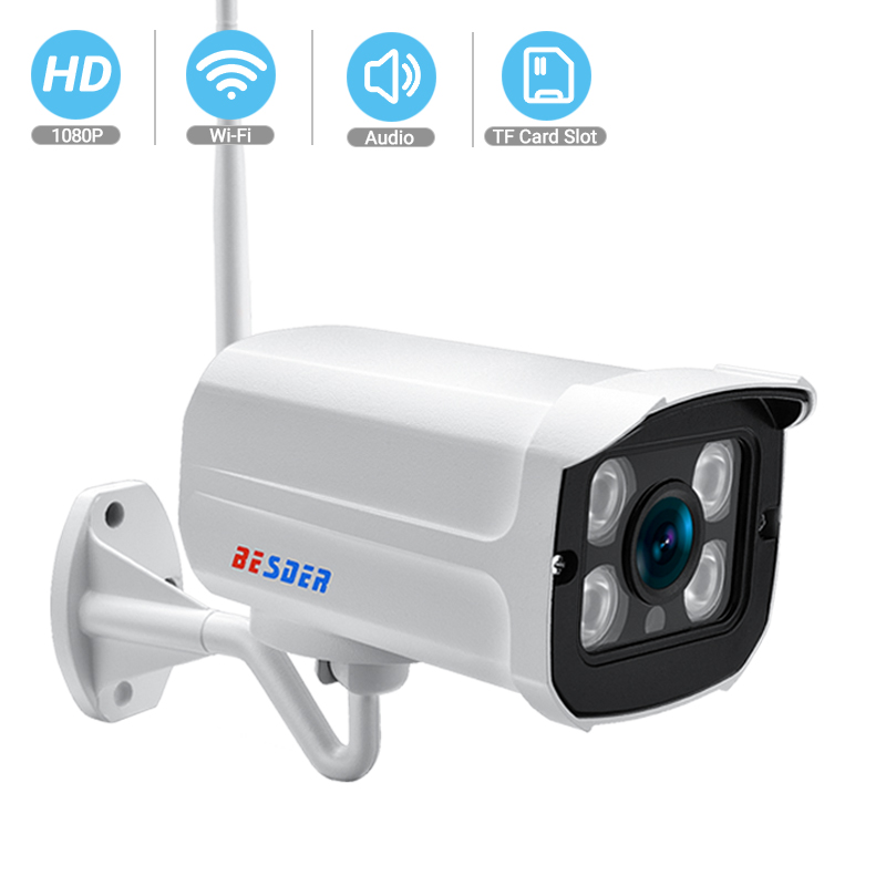 BESDER Audio Wifi Camera 1080P ONVIF Wireless Alarm Push ICsee P2P 2MP CCTV Bullet Outdoor IP Camera With SD Card Slot Max 64GB