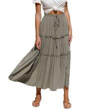Saia plissada feminina verão casual rendas cintura elástica midi saia mulher retalhos babados saias de cintura alta falda plisada mujer
