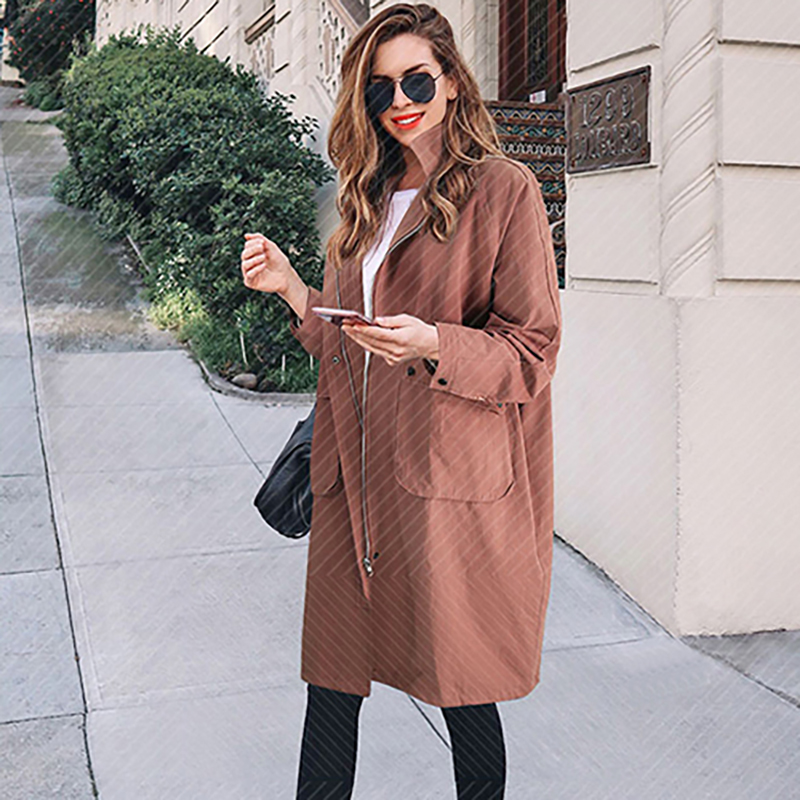 New Women Coat Winter New Plus Size Women's Long Section Lambskin   Trench   Coat Overcoat   Trench   Clothes Coat Woman Solid Zipper