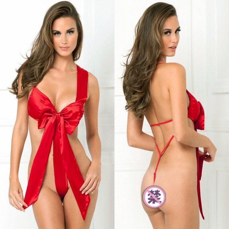 Lady Christmas Babydoll Underwear Naughty Knot Body Bow Sexy Lingerie Sleepwear New Sexy Costume Sleepwear Free Shipping