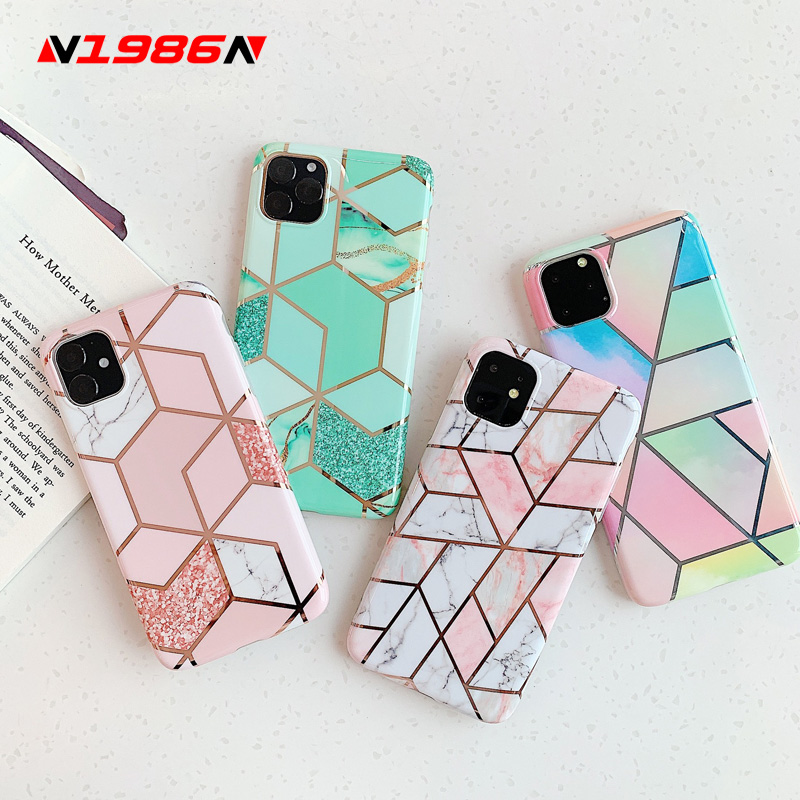 N1986N Plating Marble Case For IPhone 11 Pro Max X XR Xs Max Luxury Phone Case For IPhone 6 6s 7 8 Plus Fashion IMD Full Cover