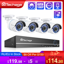 Techage Sistema de videovigilancia de seguridad 8CH 1080P NVR POE, micrófono de Audio de 2MP, cámara IP IR para exteriores, impermeable, P2P