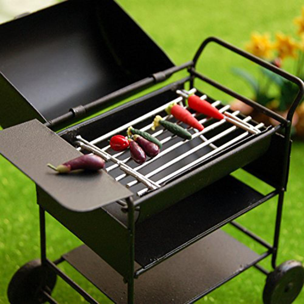 1/12 Dollhouse Miniature Metal Barbeque BBQ Roasting Oven Picnic Accessories Metal Kitchen  Pretend Toys Ware Accessories Black