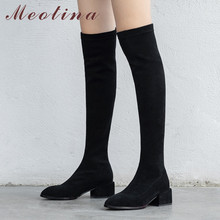 Купить с кэшбэком Meotina Autumn Thigh High Boots Women Slim Stretch Thick Heel Over The Knee Boots Sexy Round Toe Shoes Lady Autumn Plus Size 43