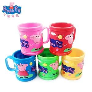 Figuras de acción de Peppa Pig auténtica para niños y niñas, figuritas con asa, de color rosa