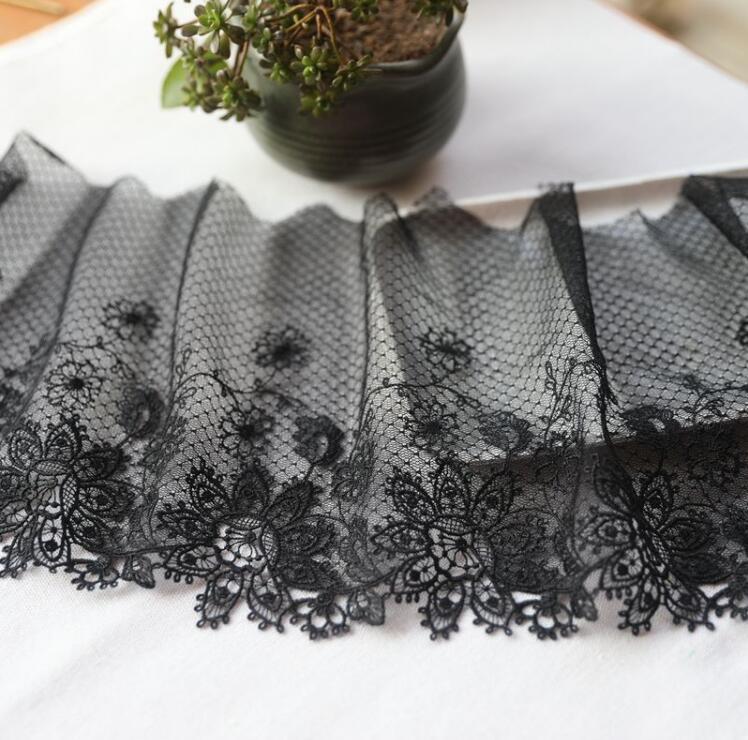 1 метр Черная кружевная вышитая кружевная швейная лента, гипюр, сделай сам, отделка, вязание, аксессуары для одежды