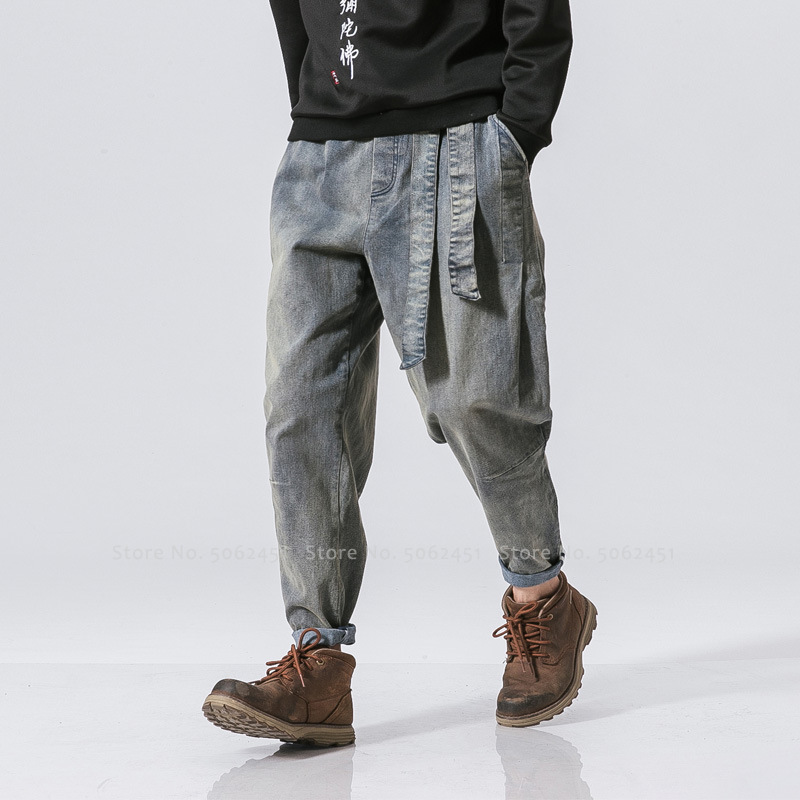 Men Medieval Retro Knight Hunter Cosplay Costumes Gothic Loose Casual Denim Trousers British Style Party Hip Hop Wide Leg Pants