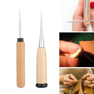 1PC Leather Craft Hole Maker Wooden Handle Needle Awl Tool DIY Sewing Taper Stitching Punching Pinpointing Wholesale Dropship