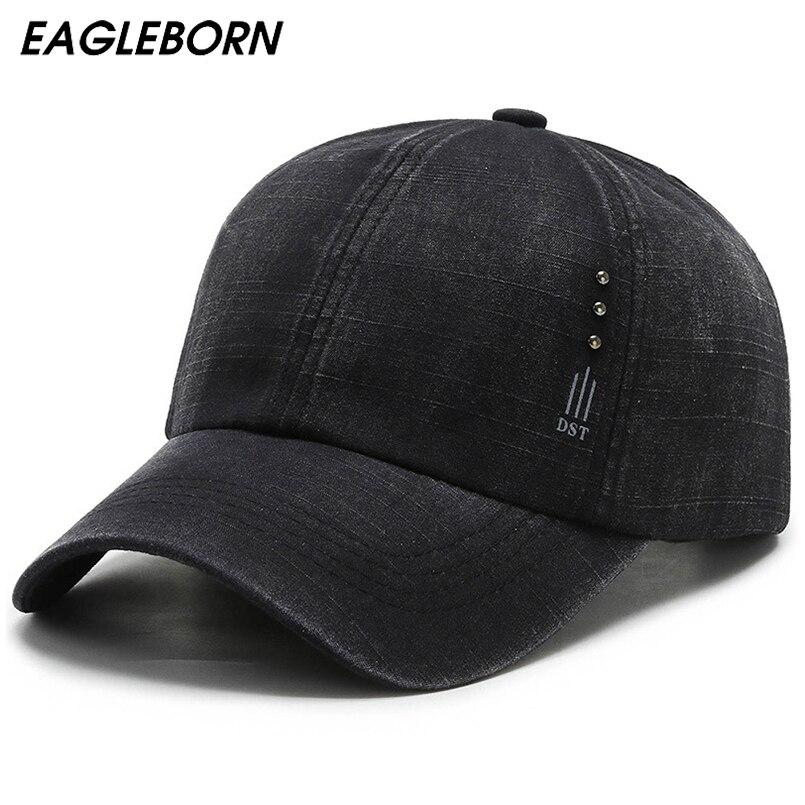 2021 New Black Denim Men Baseball Cap Mens Hats and Caps Rivet Shabby Solid Design Snapback Hat Lumberjack Driver Jiu Jitsu Caps