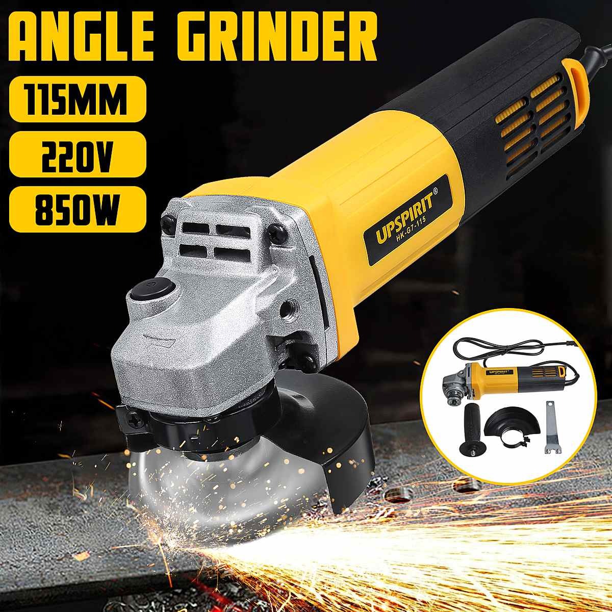 220V 850W Electric Angle Grinder 100mm Polishing Polisher Grinding Metal Stone Wood Cutting Woodworking Grinder Power Tool Kit