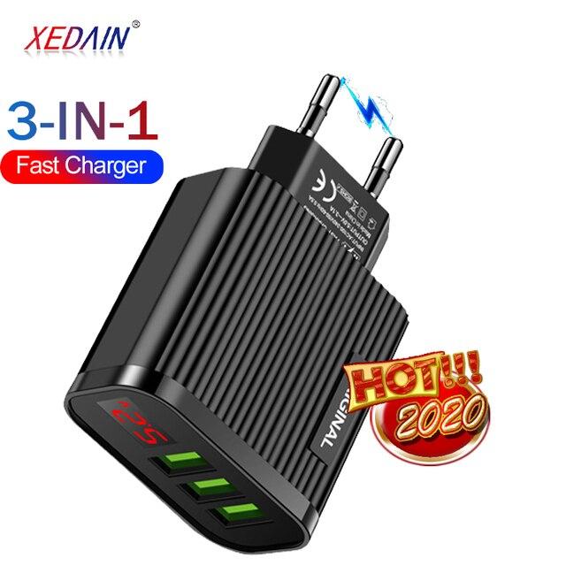 XEDAIN EU/US Display USB 5V 3.1A Charger For iPhone Charger 3 Ports Fast Charging Wall Phone Charger Samsung Xiaomi USB Adapter
