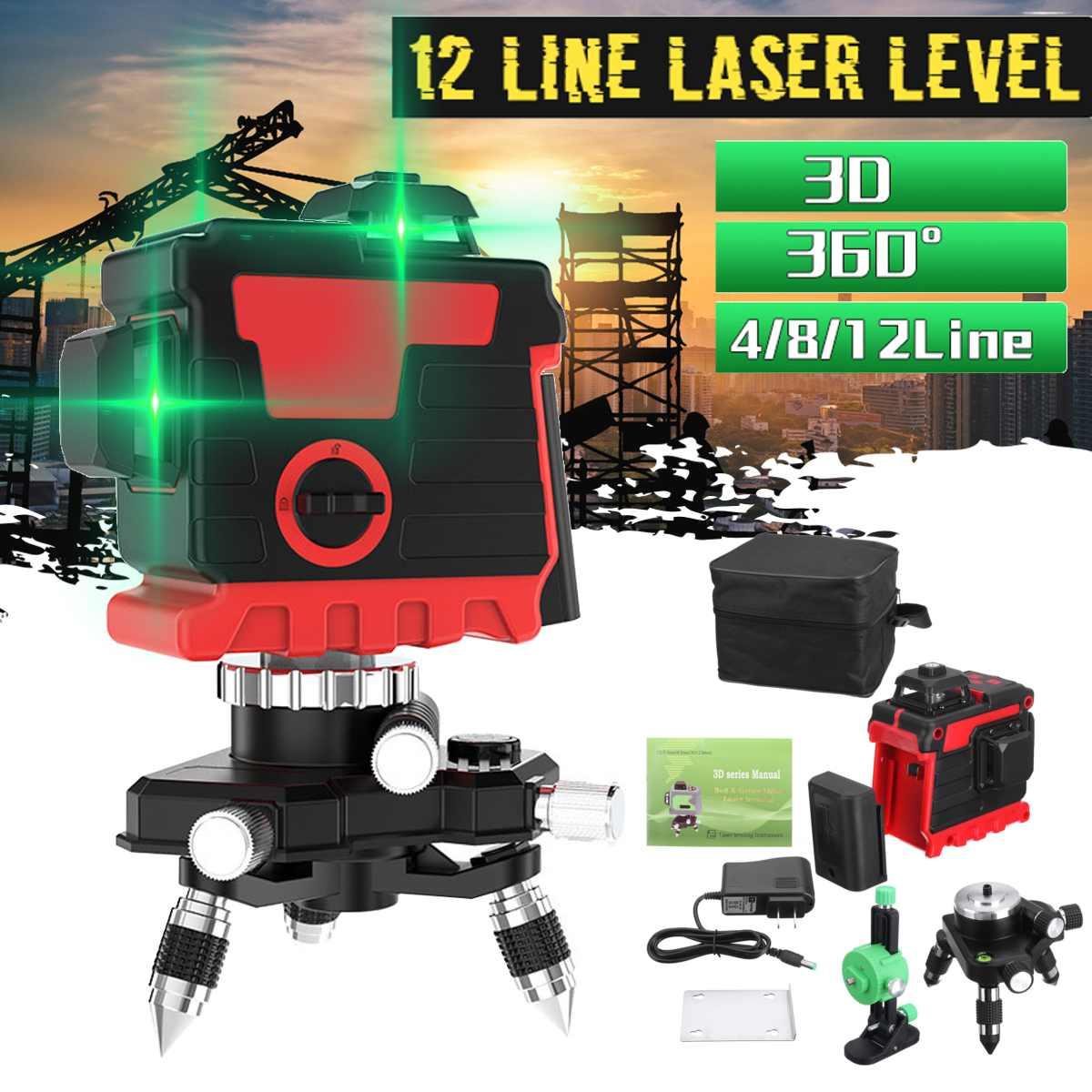 Poziom lasera 12 linii zielona linia 3D samopoziomujący 360 poziome i pionowe laser o dużej mocy laser z zielonym strumieniem