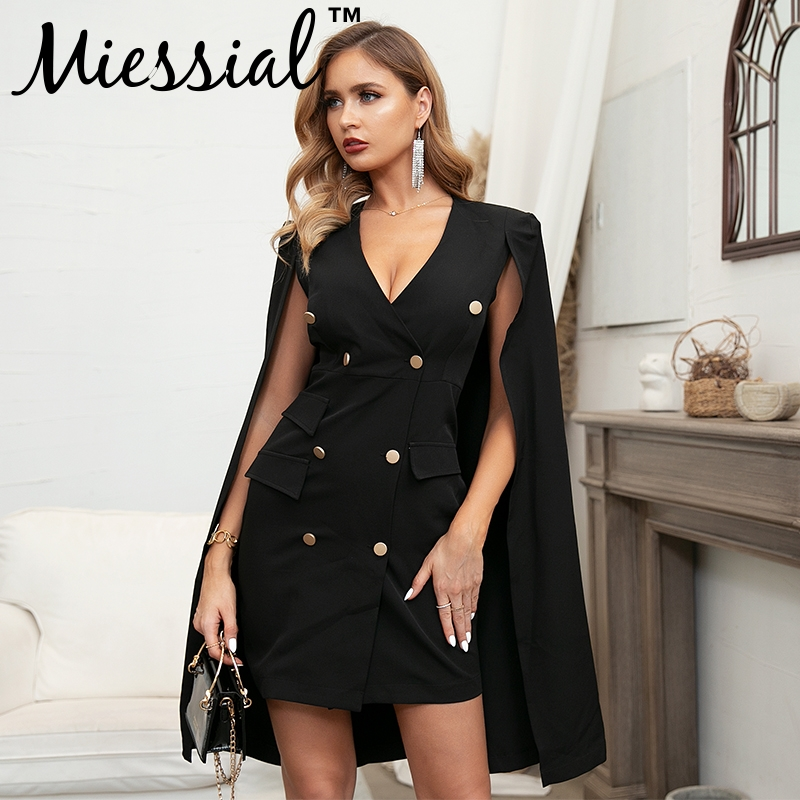 Miessial Vintage cloak cape blazer women dress Elegant black v-neck short party dress Blazer retro sexy winter dress autumn 2019