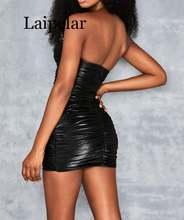 Laipelar черное облегающее платье без бретелек женское из искусственной
