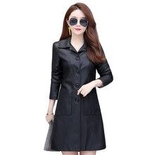 2019 Fashion Women Faux Leather Jackets Winter Autumn Long Female Black PU Leather Coats Women's Outerwear Pockets Plus Size 4XL black side pockets long sleeves outerwear