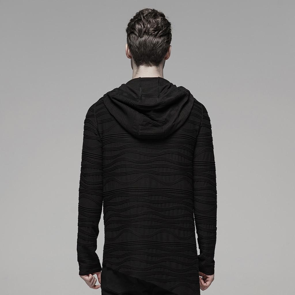 PUNK RAVE männer Dark Unregelmäßigen Streifen Gestrickte Samt T Unregelmäßigen Shirt Hoodies Rock Persönlichkeit Männer Tops Streetwear Männer Hemd - 3