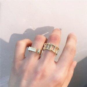 2020 Новое модное металлическое геометрическое двойное кольцо широкое квадратное кольцо для женщин и девушек ювелирные изделия