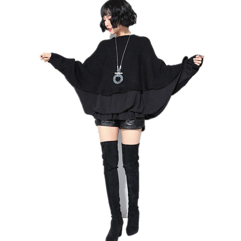 Grande taille femmes vêtements noir manches chauve-souris ordinateur tricoté chandail Lotus feuille bord taille doux haut pour femme