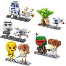 hot LegoINGlys Star Wars figures mini Micro Diamond Building Block X-wing Fighter R2D2 Robot model bricks toys for children gift стоимость